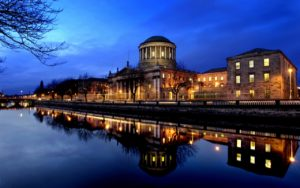 The Four Courts, Dublin, with the river Liffey in the foreground