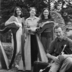 Catherine, Margaret, and Emer with piper Alan Roberts, Sligo 1999